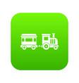toy train icon digital green vector image vector image
