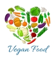 Vegetables heart veggies vegetarian poster vector image vector image