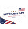 veterans day greeting card with usa flag on vector image vector image