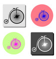 vintage bicycle flat icon vector image
