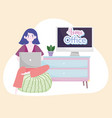 woman using laptop sitting on bean chair home vector image vector image