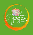 world vegan day fruits in glass mug vector image vector image