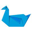 Blue bird origami on white background vector image