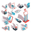 isometric icons of mobile phones laptop vector image
