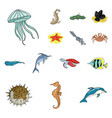 a variety of marine animals cartoon icons in set vector image vector image