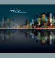 abstract night background with silhouette city vector image vector image