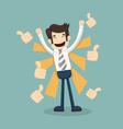 Businessman like thumbs up vector image