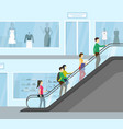 cartoon supermarket people moving up card poster vector image vector image
