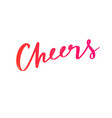 cheers holiday calligraphy gift card hand vector image