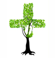 christian cross as tree vector image vector image