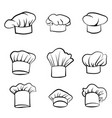 cook hat drawn hat chef cook hat chef-cooker set vector image