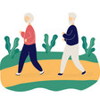 couple cute elderly people jogging in park vector image vector image