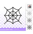 editable stroke spider web thin line icon vector image