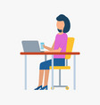 employee working with laptop workplace vector image vector image