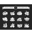 Food and drinks silhouette icons set Chalk vector image vector image