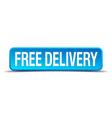free delivery blue 3d realistic square isolated vector image vector image