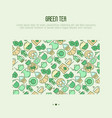 green tea ceremony concept with thin line icons vector image vector image
