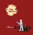halloween mummy walking under moon vector image vector image