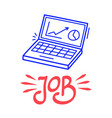 hand draw job computer icon in doodle style vector image vector image