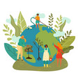 happy earth day green planet environment people vector image vector image
