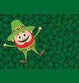 happy leprechaun on clovers vector image vector image