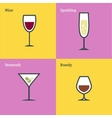 icon set of glass goblets Flat thin line vector image vector image