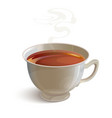 Isolated realistic white tea cup with vapor vector image vector image