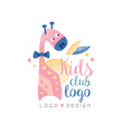 kids club logo design emblem with cute giraffe vector image vector image