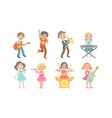 kids playing musical instruments and singing set vector image vector image