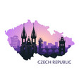 landscape prague with sights abstract skyline vector image