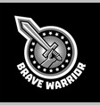 logo brave warriors a hand holding a sword the vector image vector image