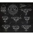 Menu in vintage modern style lines drawn chalk vector image vector image