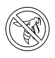No wasp sign icon outline style vector image vector image