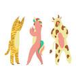 party costumes people dressed in kigurumi onesies vector image vector image