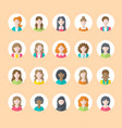 people flat icons business woman avatars symbols vector image