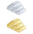 piles of gold and silver bars isolated vector image