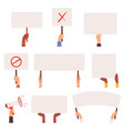 protesters banners hands holding blank pannels vector image