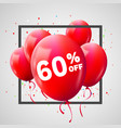 red balloons discount frame sale concept for shop vector image vector image