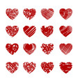 red sketch hearts vector image vector image