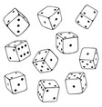 set line art dices vector image vector image