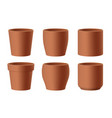 set realistic brown ceramic flower pots vector image