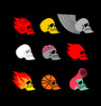 skull set emblem head of skeleton and fire logo vector image vector image