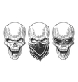 Skull with bandana Black vintage vector image vector image