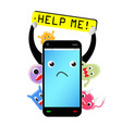 slow smartphone with virus and bug vector image vector image