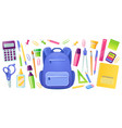 stationery for school and kids backpack vector image