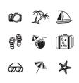Summer holidays monochrome icons set with - vector image vector image
