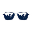sunglasses reflecting urban cityscape stylish vector image