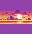 sunset in ocean nature landscape background vector image vector image