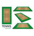 tennis court top view and different perspective vector image vector image