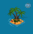 tropical island with palm trees crabs and sea sta vector image